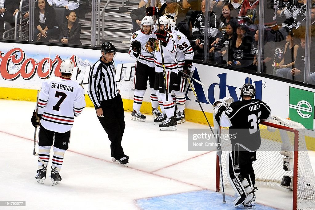 The Chicago Blackhawks celebrate after scoring a goal against the Los Angeles Kings in Game Six of the Western Conference Final during the 2014 Stanley Cup Playoffs at Staples Center on May 30, 2014 in Los Angeles, California.