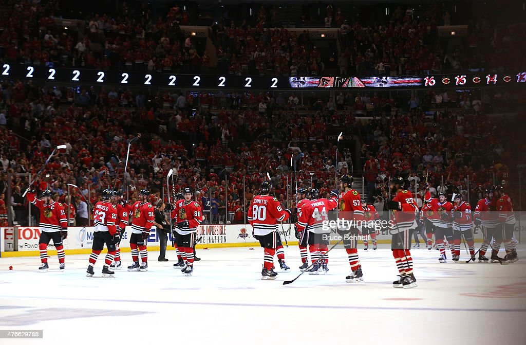 The Chicago Blackhawks celebrate defeating the Tampa Bay Lightning 2 to 1 in Game Four of the 2015 NHL Stanley Cup Final at the United Center on June...