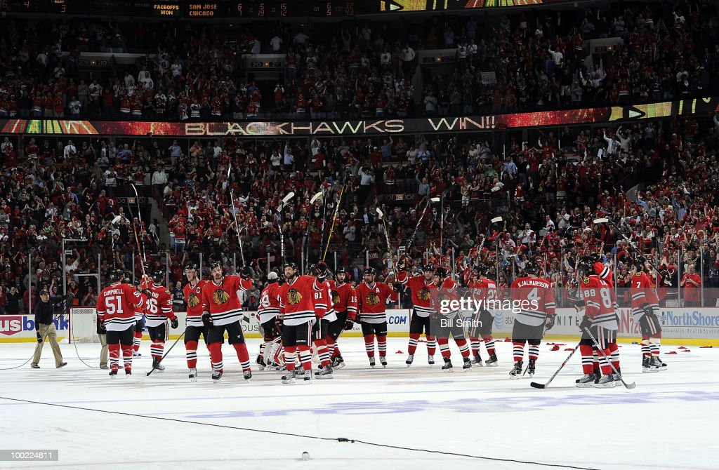The Chicago Blackhawks celebrate their 3-2 win in overtime against the San Jose Sharks in Game Three of the Western Conference Finals during the 2010 NHL Stanley Cup Playoffs on May 21, 2010 at the United Center in Chicago, Illinois.