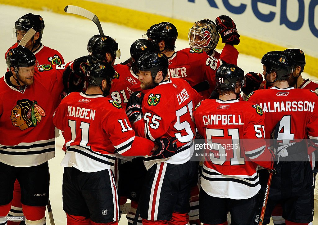 The Chicago Blackhawks celebrate their 4-2 victory against the San Jose Sharks to advance to the Stanley Cup after winning Game Four of the Western Conference Finals during the 2010 NHL Stanley Cup Playoffs at the United Center on May 23, 2010 in Chicago, Illinois.
