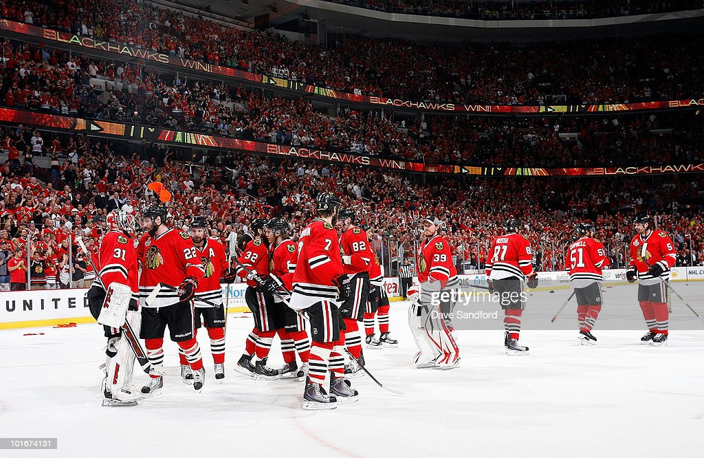 The Chicago Blackhawks celebrate their 7-4 win of Game Five of the 2010 NHL Stanley Cup Finals over the Philadelphia Flyers at United Center on June 6, 2010 in Chicago, Illinois.