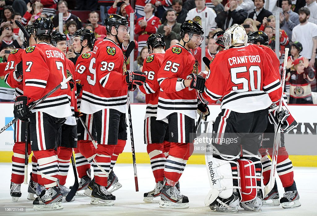 The Chicago Blackhawks celebrate their win over the Columbus Blue Jackets during the NHL game on January 10, 2012 at the United Center in Chicago, Illinois.