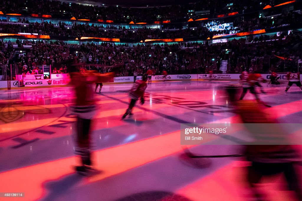 The Chicago Blackhawks come out to the ice prior to the start of the NHL game against the Columbus Blue Jackets at the United Center on October 17...
