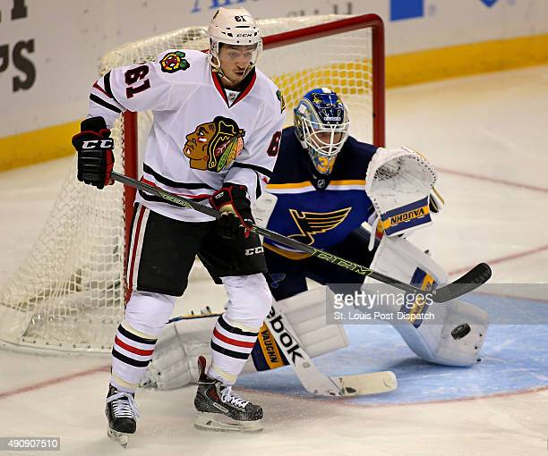 The Chicago Blackhawks' Garret Ross tries unsuccessfully to redirect a shot past St Louis Blues goalie Jake Allen in the second period in preseason...