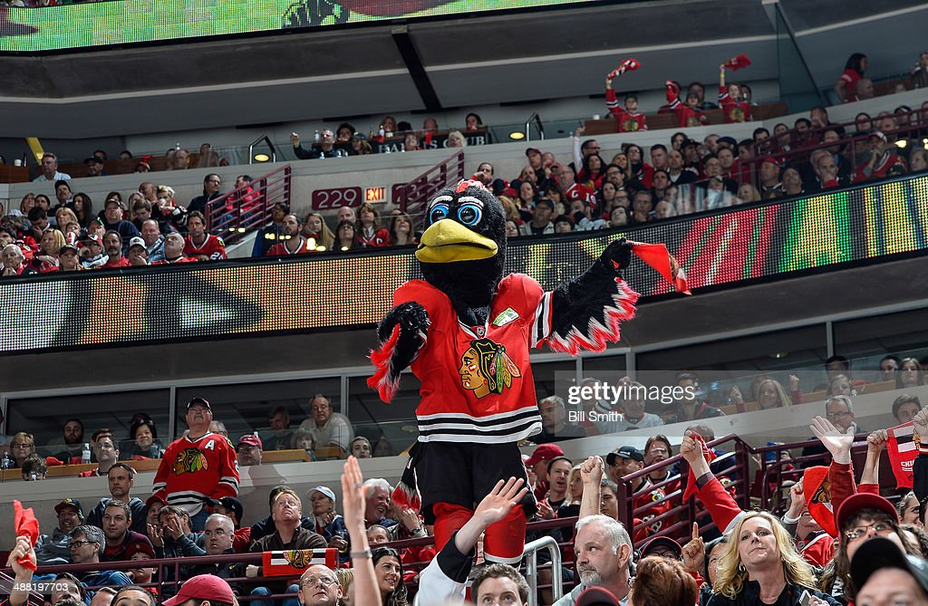 The Chicago Blackhawks mascot 'Tommy Hawk' cheers during Game Two of the Second Round of the 2014 Stanley Cup Playoffs between the Minnesota Wild and the Chicago Blackhawks at the United Center on May 04, 2014 in Chicago, Illinois.