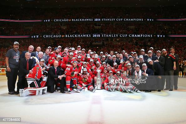The Chicago Blackhawks pose with the Stanley Cup after defeating the Tampa Bay Lightning by a score of 20 in Game Six to win the 2015 NHL Stanley Cup...
