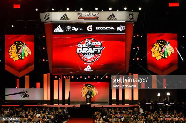 The Chicago Blackhawks President CEO John McDonough speaks prior to the first round of the 2017 NHL Draft on June 23 at the United Center in Chicago...