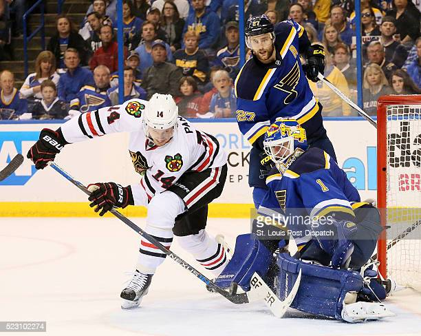 The Chicago Blackhawks' Richard Panik left tries to score against St Louis Blues goaltender Brian Elliott in the second period during Game 5 of a...