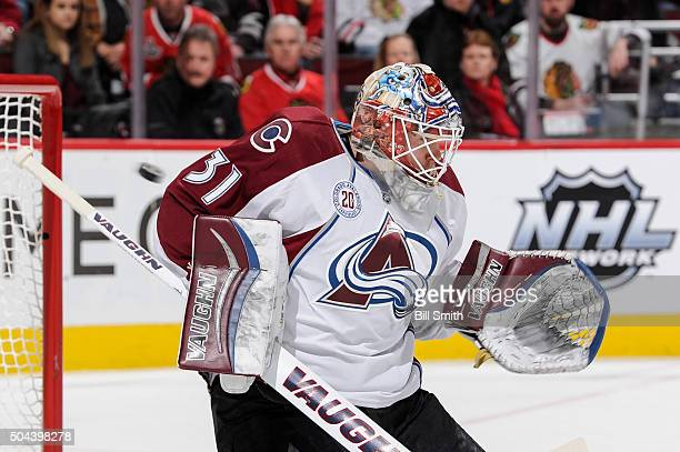 The Chicago Blackhawks score on goalie Calvin Pickard of the Colorado Avalanche in the second period of the NHL game at the United Center on January...