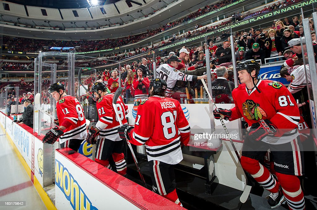 The Chicago Blackhawks step out onto the ice before the NHL game against the Minnesota Wild on March 05, 2013 at the United Center in Chicago, Illinois.