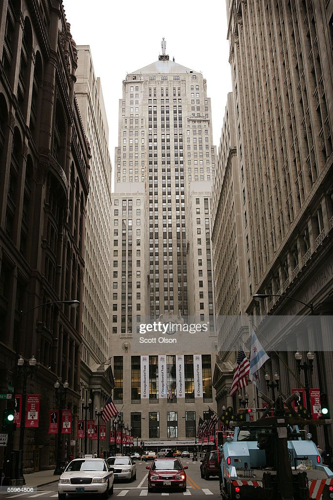 The Chicago Board of Trade (CBOT) Building towers over the end of LaSalle Street in the heart of the financial district October 19, 2005 in Chicago, Illinois. The CBOT watched its initial public offering shoot up over 50 percent today after the launch of its initial public offering this morning on the New York Stock Exchange.