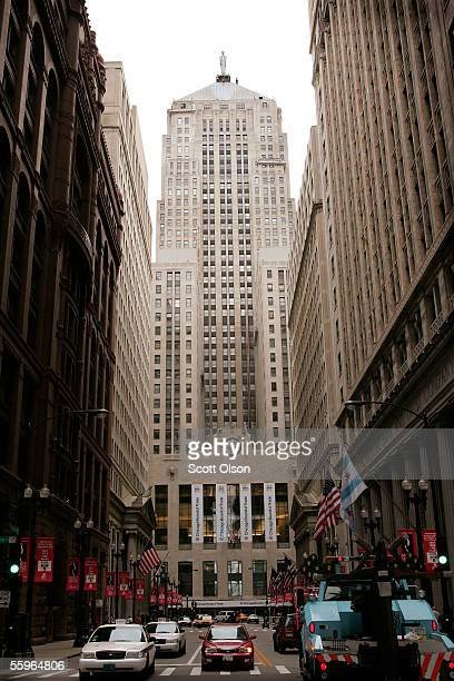 The Chicago Board of Trade Building towers over the end of LaSalle Street in the heart of the financial district October 19 2005 in Chicago Illinois...