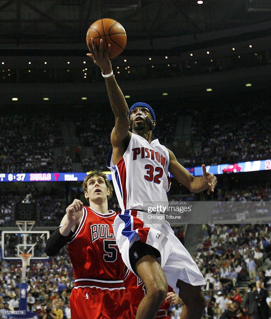 The Chicago Bulls 'Andres Nocioni watches as Detroit Pistons guard Richard Hamilton scores in the first half of Game 2 of the NBA Playoffs at the Palace of Auburn Hills in Auburn Hills, Michigan, Monday, May 7, 2007.