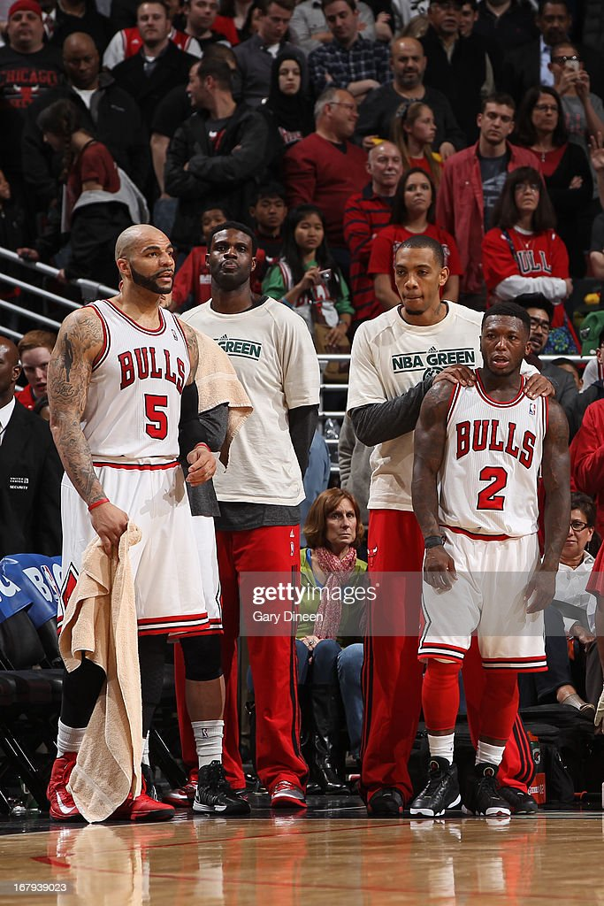 The Chicago Bulls bench reacts during the game against the New York Knicks on April 11, 2013 at the United Center in Chicago, Illinois.