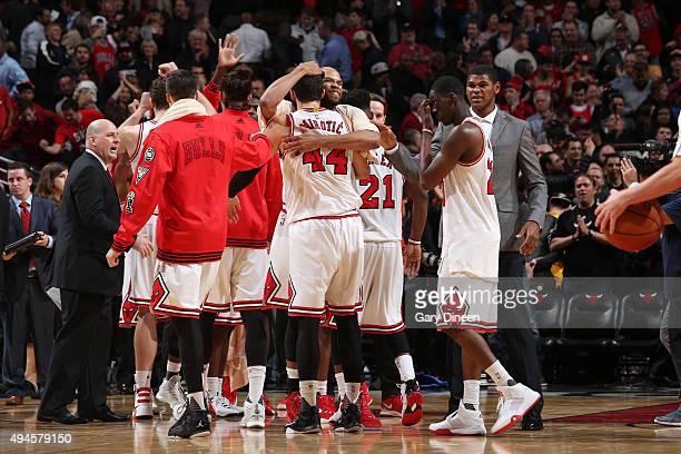 The Chicago Bulls celebrate a win against the Cleveland Cavaliers on October 27 2015 at the United Center in Chicago Illinois NOTE TO USER User...