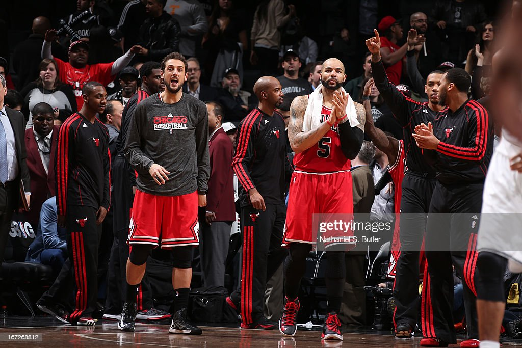 The Chicago Bulls celebrate during the game against the Brooklyn Nets in Game Two of the Eastern Conference Quarterfinals during the 2013 NBA Playoffs on April 22 at the Barclays Center in the Brooklyn borough of New York City.