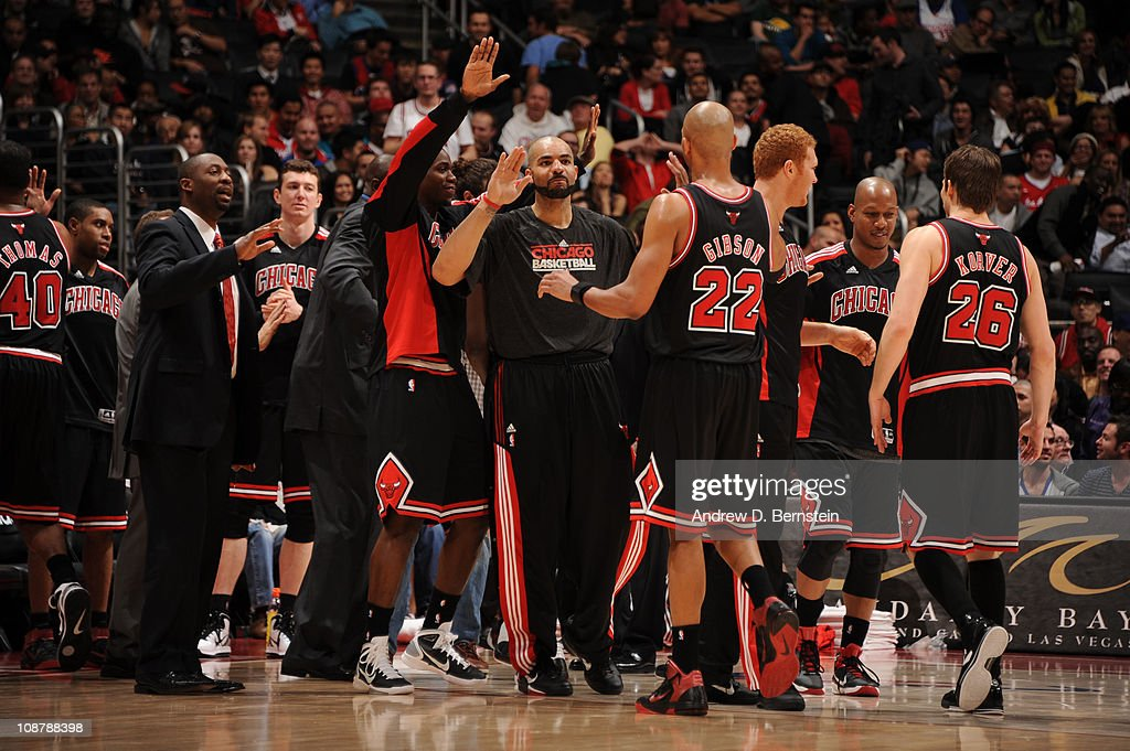 The Chicago Bulls celebrate their victory over the Los Angeles Clippers at Staples Center on February 2, 2011 in Los Angeles, California.