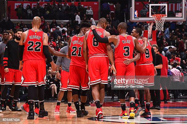 The Chicago Bulls come together for a timeout during a game against the LA Clippers on November 19 2016 at the STAPLES Center in Los Angeles...