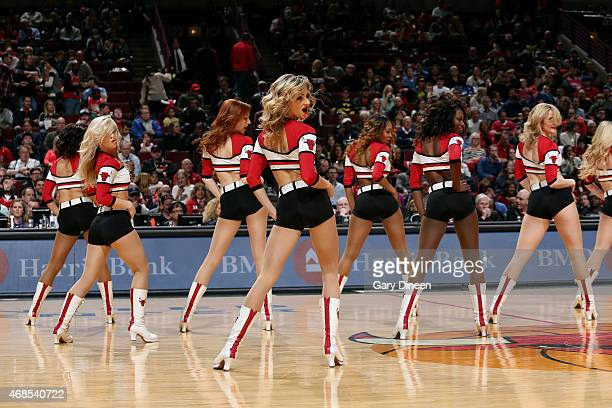 The Chicago Bulls dance team performs during a game against the Detroit Pistons on April 3 2015 at the United Center in Chicago Illinois NOTE TO USER...