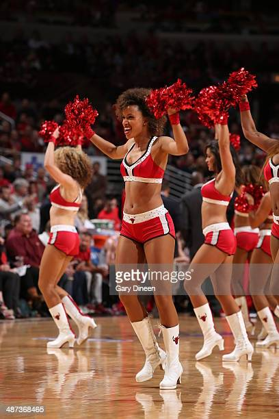 The Chicago Bulls dance team performs in Game 5 of the Eastern Conference Quarterfinals against the Washington Wizards in the 2014 NBA Playoffs on...