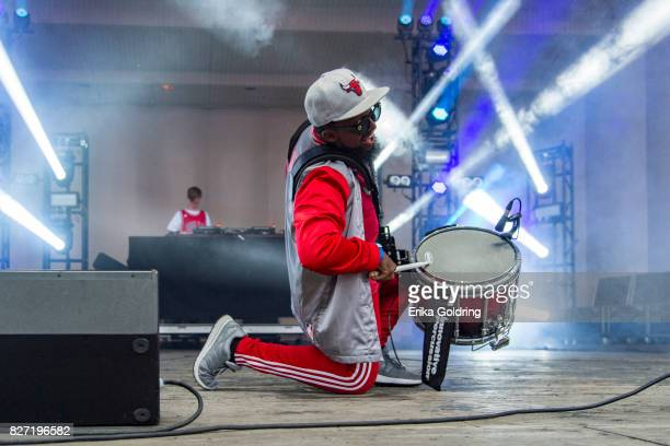The Chicago Bulls Drumline performs with Ethan Snoreck aka Whethan during Lollapalooza at Grant Park on August 6 2017 in Chicago Illinois