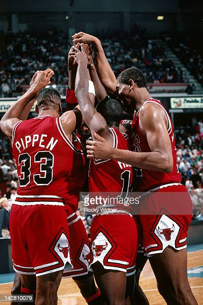 The Chicago Bulls huddle against the Sacramento Kings during a game played on November 14 1989 at the Arco Arena in Sacramento California NOTE TO...