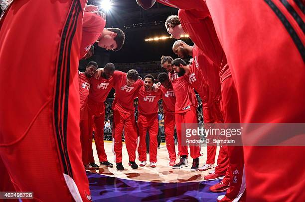 The Chicago Bulls huddle before a game against the Los Angeles Lakers at STAPLES Center on January 29 2015 in Los Angeles California NOTE TO USER...