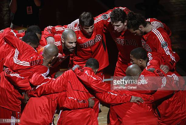 The Chicago Bulls huddle before a game against the New Jersey Nets at the United Center on April 13 2011 in Chicago Illinois The Bulls defeated the...