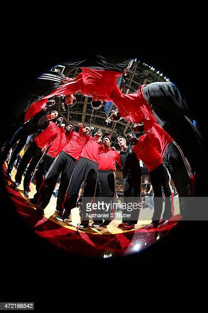 The Chicago Bulls huddle before Game One of the Eastern Conference Semifinals against the Cleveland Cavaliers during the 2015 NBA Playoffs on May 4...