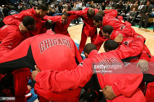 The Chicago Bulls huddle before play against the Minnesota Timberwolves January 11 2006 at the Target Center in Minneapolis Minnesota The...