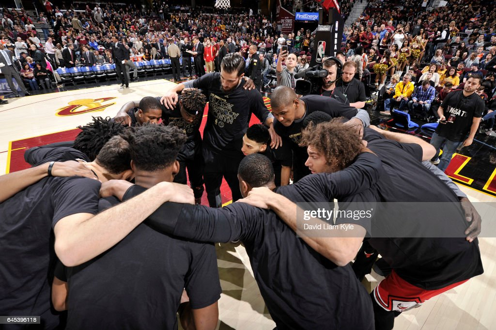 The Chicago Bulls huddle before the game against the Cleveland Cavaliers on February 25, 2017 at Quicken Loans Arena in Cleveland, Ohio.