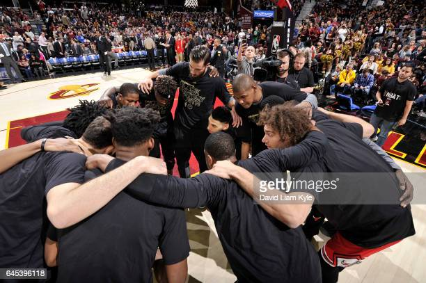 The Chicago Bulls huddle before the game against the Cleveland Cavaliers on February 25 2017 at Quicken Loans Arena in Cleveland Ohio NOTE TO USER...