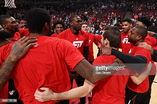 The Chicago Bulls huddle before the game against the Miami Heat on January 26 2016 at United Center in Chicago Illinois NOTE TO USER User expressly...