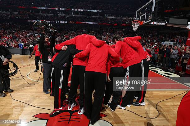 The Chicago Bulls huddle before the game against the Milwaukee Bucks in Game One of the Eastern Conference Quarterfinals during the NBA Playoffs on...
