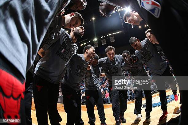The Chicago Bulls huddle before the game against the Minnesota Timberwolves on February 6 2016 at Target Center in Minneapolis Minnesota NOTE TO USER...