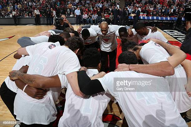 The Chicago Bulls huddle before the game against the Oklahoma City Thunder on November 5 2015 at the United Center in Chicago Illinois NOTE TO USER...
