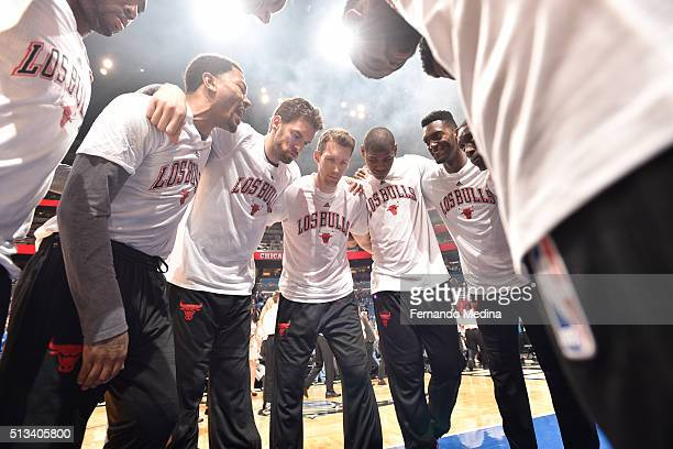 The Chicago Bulls huddle before the game against the Orlando Magic on March 2 2016 at Amway Center in Orlando Florida NOTE TO USER User expressly...