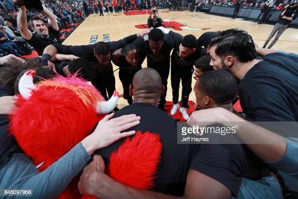 The Chicago Bulls huddle before the game against the Phoenix Suns on February 24 2017 at the United Center in Chicago Illinois NOTE TO USER User...