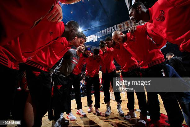 The Chicago Bulls huddle before the game against the San Antonio Spurs on November 30 2015 at United Center in Chicago Illinois NOTE TO USER User...