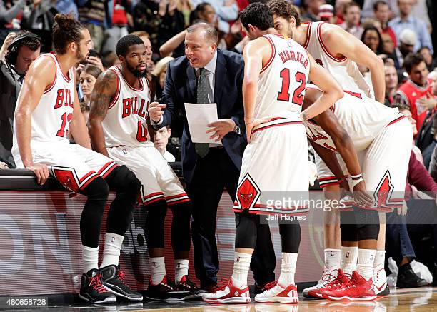 The Chicago Bulls huddle during a game against the New York Knicks on December 18 2014 at the United Center in Chicago Illinois NOTE TO USER User...