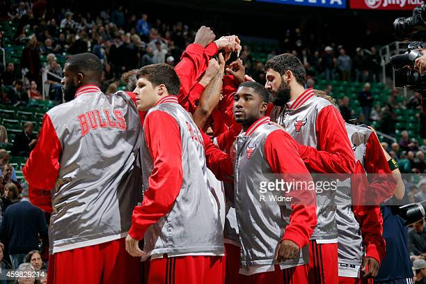 The Chicago Bulls huddle during a game against the Utah Jazz at EnergySolutions Arena on November 24 2014 in Salt Lake City Utah NOTE TO USER User...
