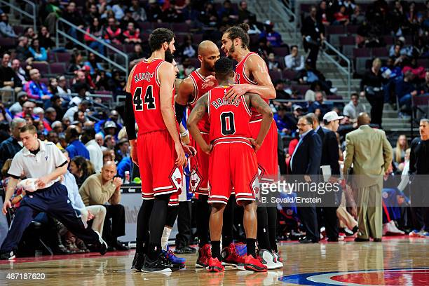 The Chicago Bulls huddle during the game against the Detroit Pistons on March 21 2015 at the Palace of Auburn Hills in Auburn Hills Michigan NOTE TO...