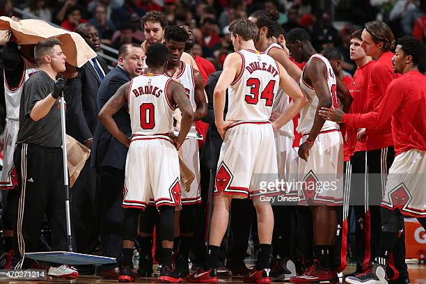 The Chicago Bulls huddle during the game against the Milwaukee Bucks in Game One of the Eastern Conference Quarterfinals during the NBA Playoffs on...