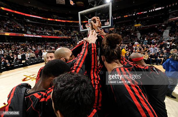 The Chicago Bulls huddle together prior to the game against the Cleveland Cavaliers at The Quicken Loans Arena on November 2 2012 in Cleveland Ohio...