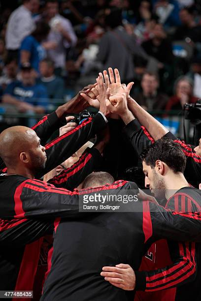 The Chicago Bulls huddle up before a game against the Dallas Mavericks on February 28 2014 at the American Airlines Center in Dallas Texas NOTE TO...