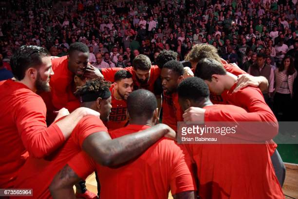 The Chicago Bulls huddle up before the game against the Boston Celtics during Game Five of the Eastern Conference Quarterfinals of the 2017 NBA...