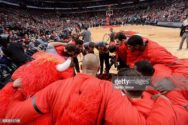 The Chicago Bulls huddle up before the game against the Charlotte Hornets on January 2 2017 at the United Center in Chicago Illinois NOTE TO USER...