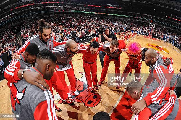 The Chicago Bulls huddle up before the game against the Dallas Mavericks on December 28 2013 at the United Center in Chicago Illinois NOTE TO USER...
