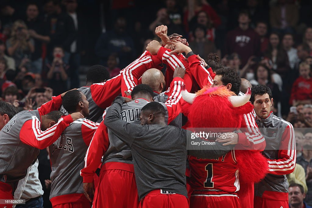 The Chicago Bulls huddle up before the game against the Memphis Grizzlies on January 19, 2013 at the United Center in Chicago, Illinois.