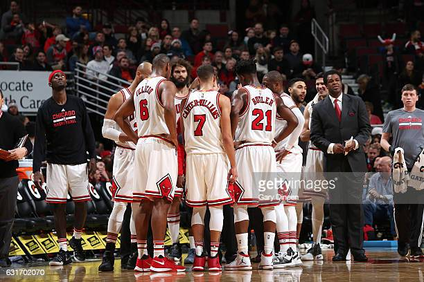 The Chicago Bulls huddle up during the game against the New Orleans Pelicans on January 14 2017 at the United Center in Chicago Illinois NOTE TO USER...